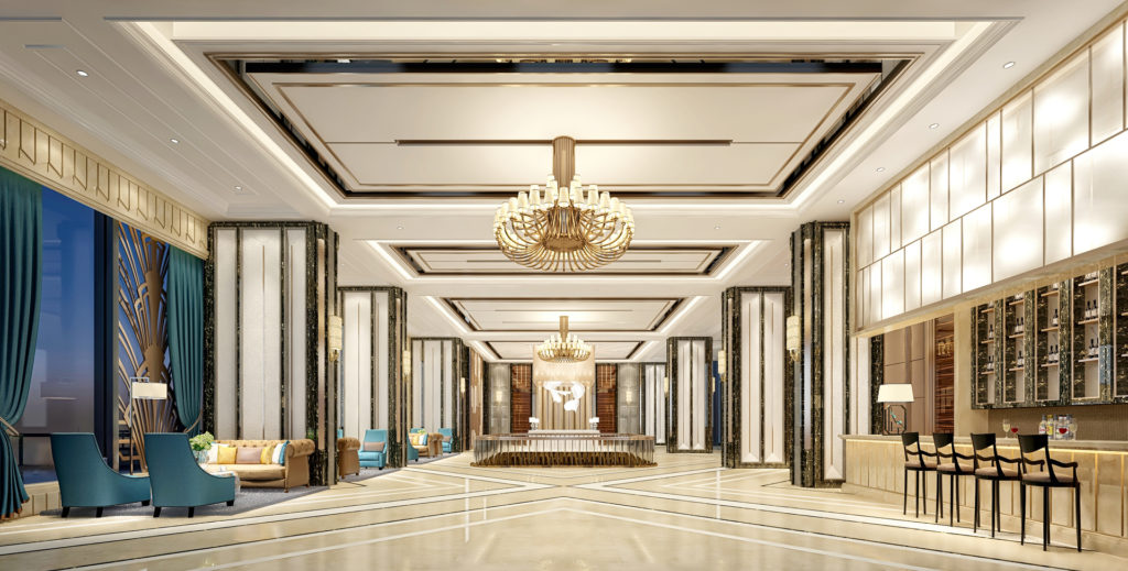 Picture of a 3D rendering of a hotel lobby